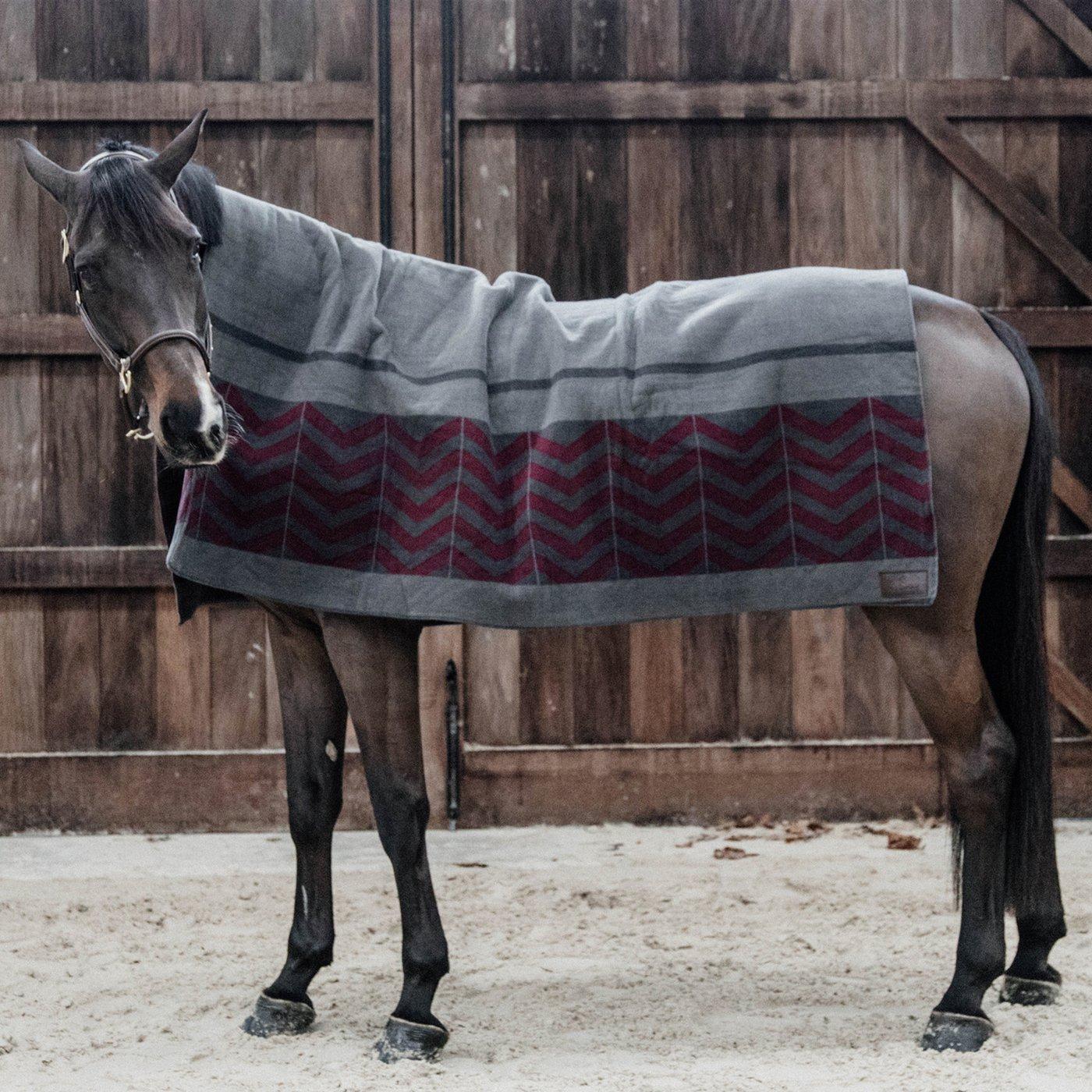 Kentucky Heavy Fleece Rug - grey/red (210*200)