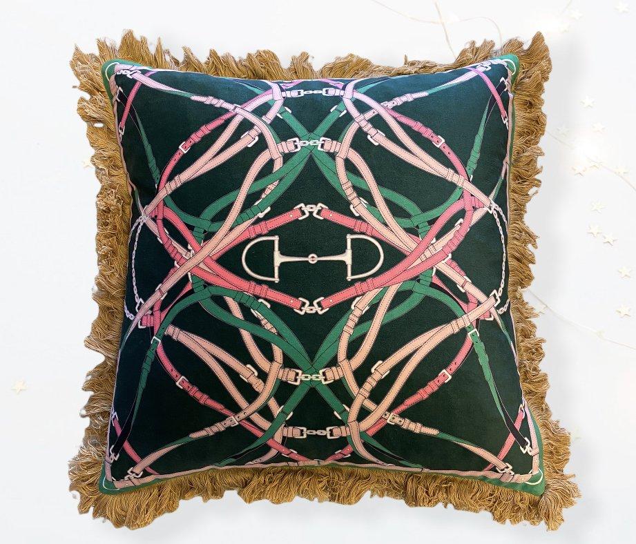 Bite Velvet Pillow Jade with pink details - ADAMSBRO